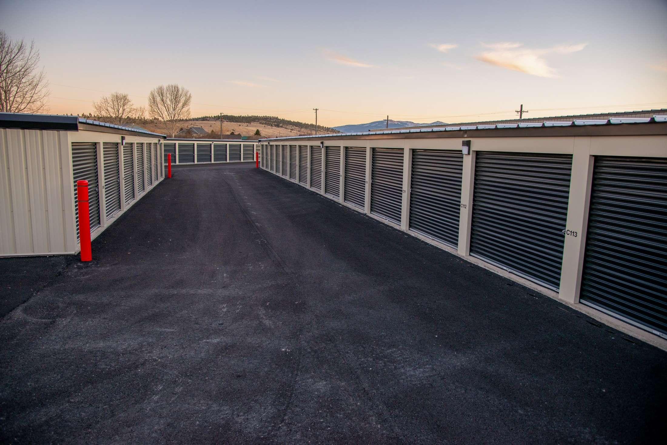 Wide Drive Aisle Between Self Storage Units